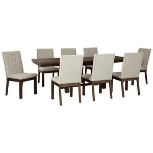 Casual 9-Piece Dining Set with Leaves