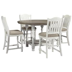 Round Dining Room Counter Height Table and 4 Upholstered Barstools Set
