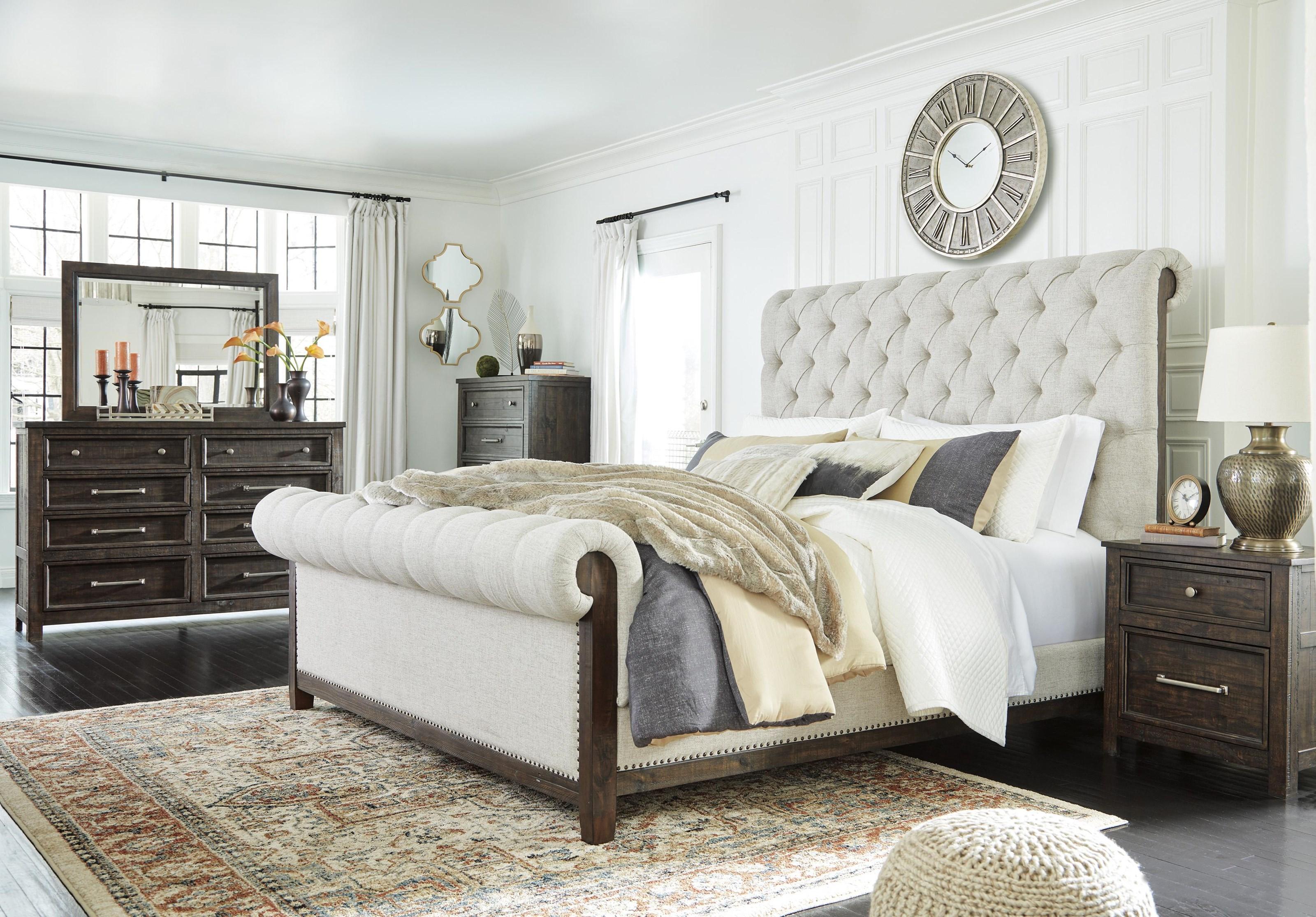 Hillcott 5 Piece King Upholstered Bedroom Set by Millennium at Sam Levitz Furniture