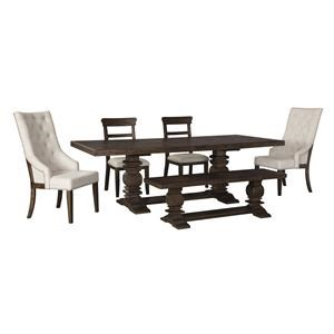 6 Piece Rectangular Dining Room Extension Table, 2 Upholstered Arm Chairs, 2 Upholstered Side Chairs and Bench Set