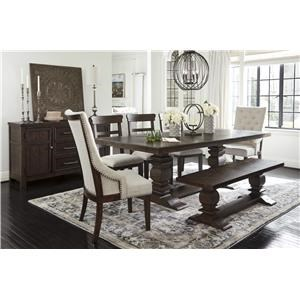 7 PC Table, 2 UPH Arm Chairs, 2 Side Chairs, Bench and Server Set
