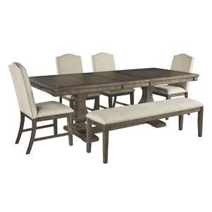 6 Piece Rectangular Dining Room Extension Table, 4 Upholstered Side Chairs and Upholstered Bench Set