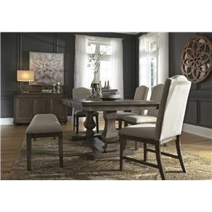 7 PC Dining Room EXT Table, 4 UPH Chairs, Bench and Server Set