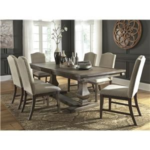 8 PC Dining Room EXT Table, 6 UPH Chairs and Server Set