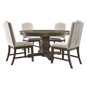7 Piece Dining Room Round Table and 6 Upholstered Side Chairs