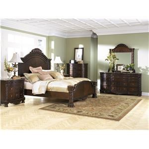 Queen Panel Bed, 2 Nightstands, Chest, Dresser and Mirror Package