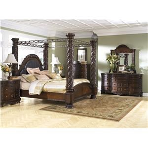 King Canopy Bed, Nightstand, Dresser and Mirror Package