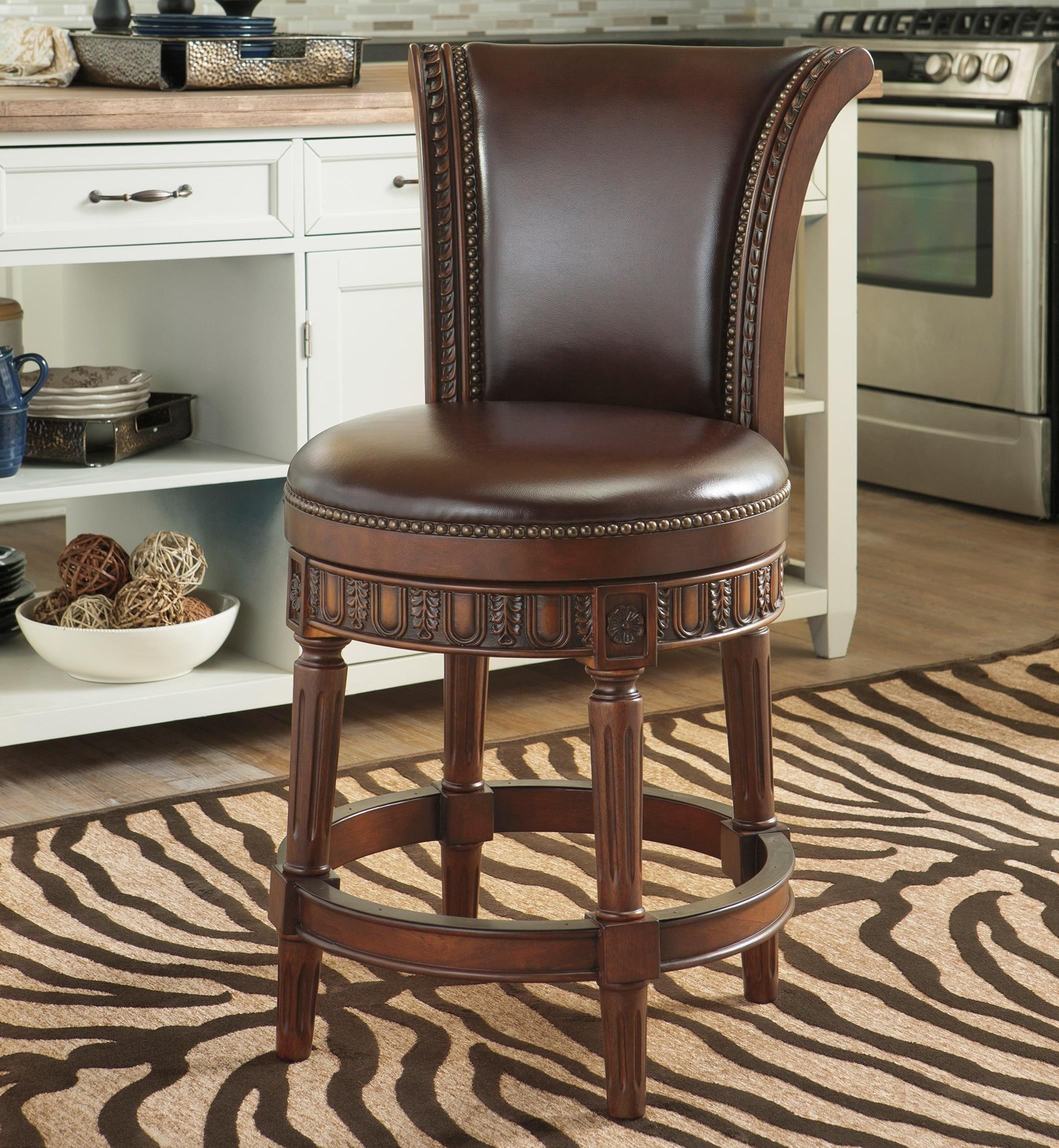North Shore Upholstered Swivel Barstool by Millennium at Lapeer Furniture & Mattress Center