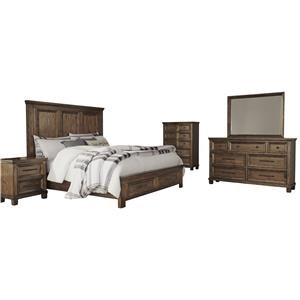 Queen Panel Bed with Storage Footboard, Dresser, Mirror and Nightstand Package