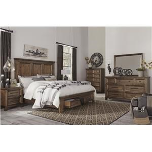 King Panel Bed with Storage Footboard, Dresser, Mirror, Nightstand and Chest Package