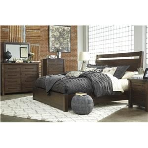 King Platform Bed, Dresser, Mirror and Nightstand Package