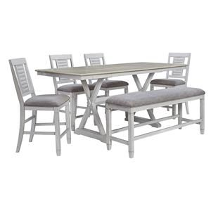 6 Piece Rectangular Counter Height Extension Table, 4 Upholstered Barstools and Upholstered Bench Set
