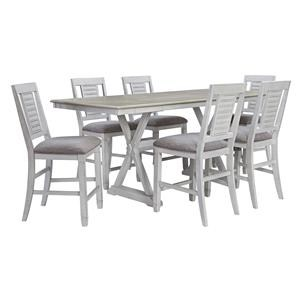 7 Piece Rectangular Counter Height Extension Table and 6 Upholstered Bar Stools Set