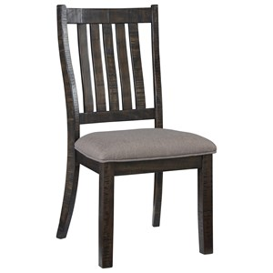 Rustic Traditional Dining Side Chair with Upholstered Seat