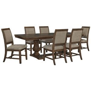 7 Piece Rectangular Dining Room Extension Table and 6 Upholstered Side Chairs Set