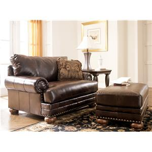 Signature Design by Ashley Chaling DuraBlend® - Antique Chair & 1/2 and Ottoman Set