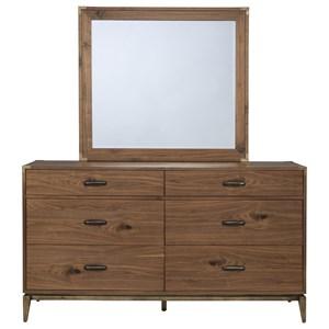 Six Drawer Mid-Century Modern Dresser and Mirror