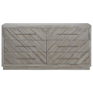 Rustic Herringbone Pattern Dresser with 6 Drawers