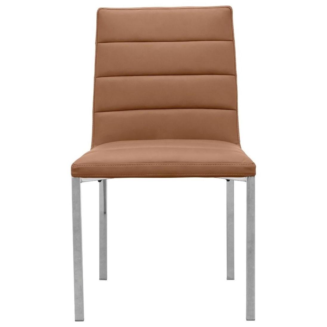 Metal Back Chair in Cognac