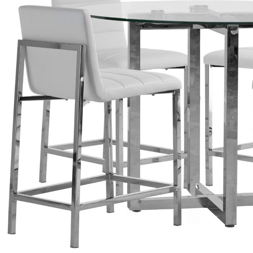 Metal Back Counter Stool in White