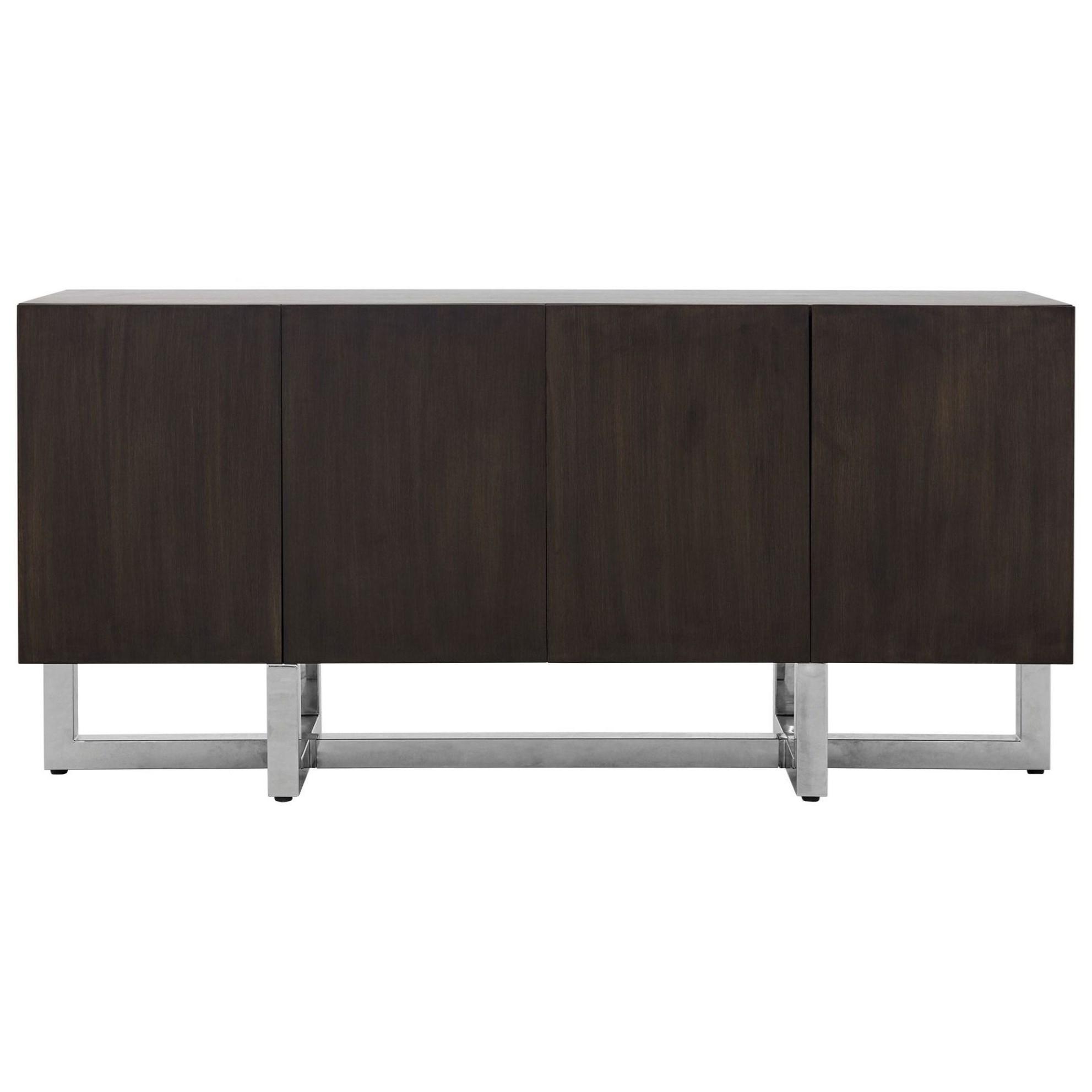 Wood Sideboard in Wood/Chrome