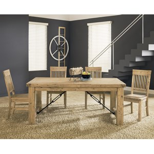 Rustic Solid Wood 5-Piece Dining Table Set