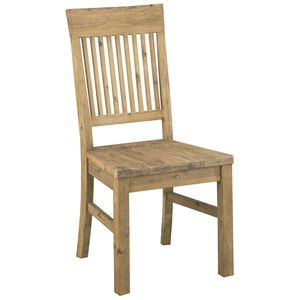 Rustic Solid Wood Side Chair with Slat Back