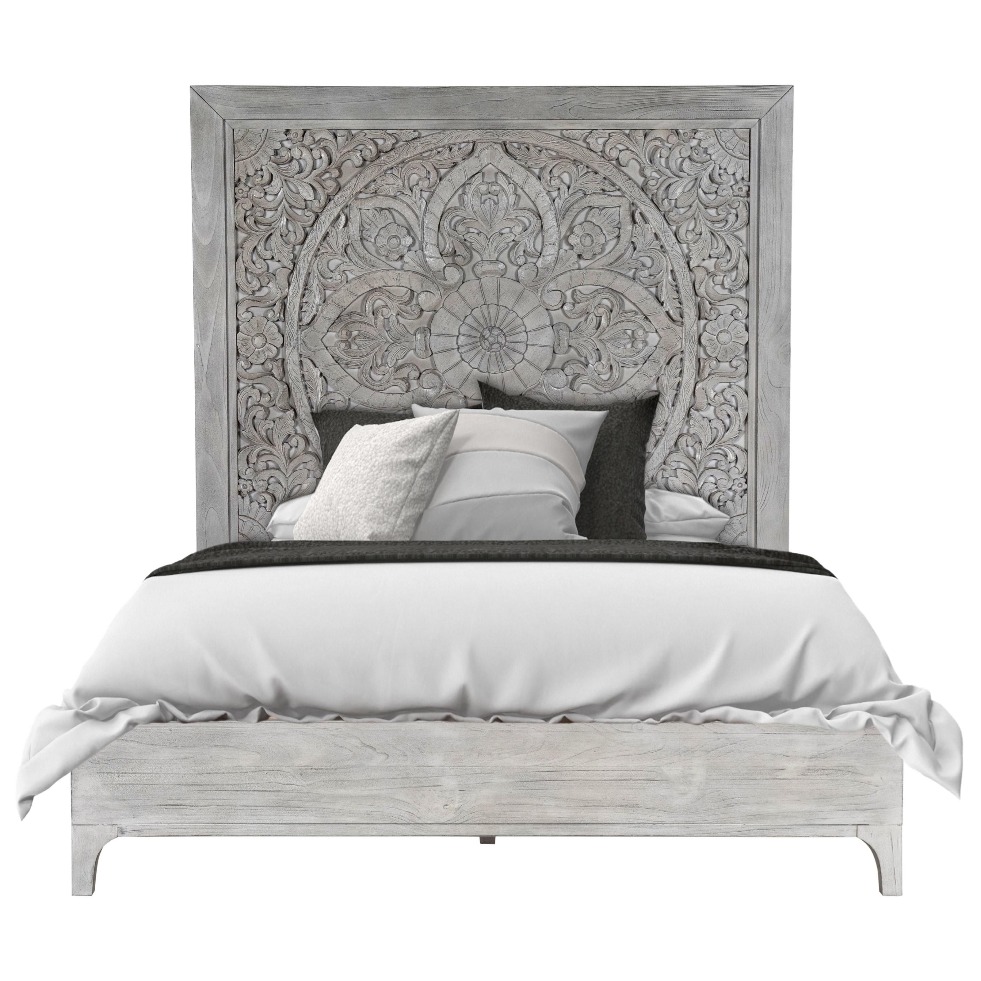 Boho Chic California King Platform Bed in Washed White at Sadler's Home Furnishings
