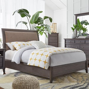 Queen Upholstered Low Profile Sleigh Bed