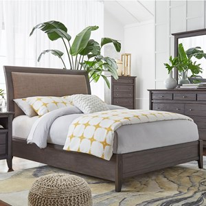 King Upholstered Low Profile Sleigh Bed