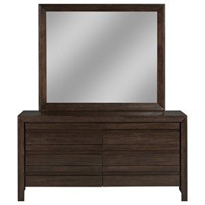 Contemporary Four Drawer Dresser and Mirror Set