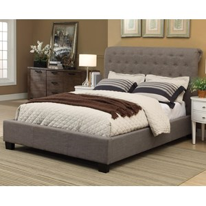 Queen Royal Upholstered Platform Storage Bed with Tufted Sleigh Headboard