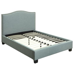 Queen Ariana Upholstered Platform Bed with Arched Headboard and Nailhead Trim