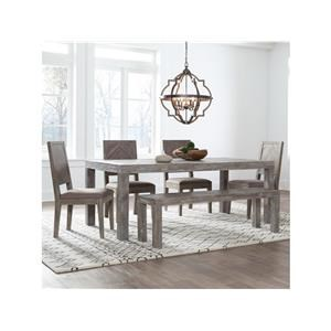 7 Piece Rectangular Dining Room Table and 6 Upholstered Chairs Set