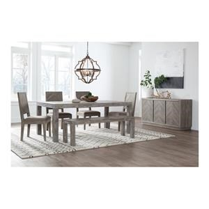 8 PC Rectangular Dining Room Table, 6 Upholstered Side Chairs and Server Set
