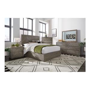 King Storage Bed with Large Footboard Drawer, Dresser, Mirror and Nightstand Package