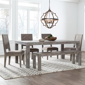Contemporary 6-Piece Table and Chair Set with Bench
