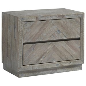 Contemporary 2-Drawer Nightstand in Rustic Latte Finish