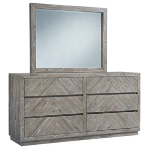 Contemporary 6-Drawer Dresser and Mirror in Rustic Latte Finish