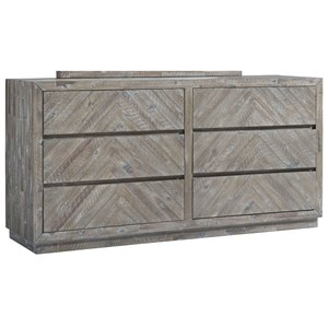 Contemporary 6-Drawer Dresser with Felt-Lined Top Drawers