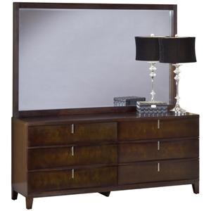 Modus International Legend Wood Six Drawer Dresser and Mirror Set