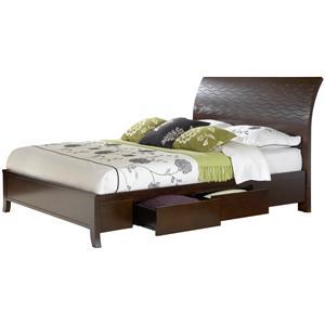 Modus International Legend Wood Queen Swirl Carved Sleigh Storage Bed
