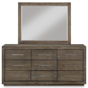 Contemporary 9-Drawer Dresser and Mirror Set