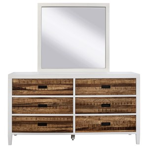 6 Drawer Dresser & Mirror with Wood Frame