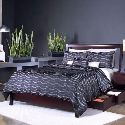 Nevis King Low Profile Bed with Storage  at Sadler's Home Furnishings