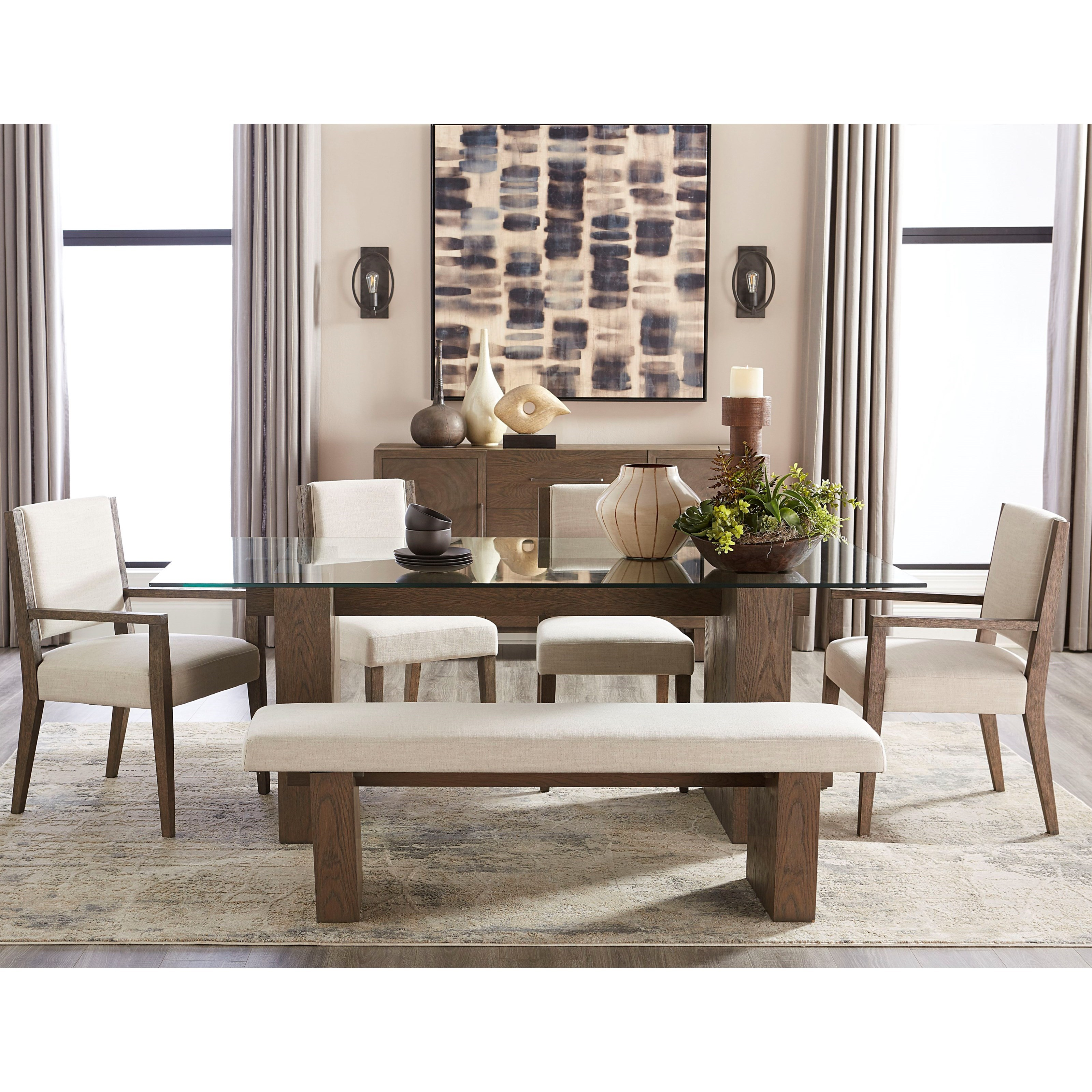 Oakland 6-Piece Dining Table Set with Bench by Modus International at A1 Furniture & Mattress