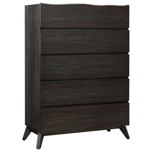Contemporary 5-Drawer Chest with Live Edge
