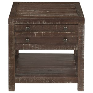 Rustic Plank Side Table with Shelf