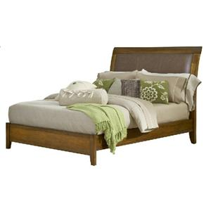 Mission King Bed with Faux Leather Upholstered Headboard