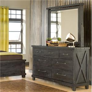 Rustic 7 Drawer Dresser and Square Mirror